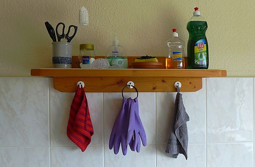 Kitchen shelve with utensils