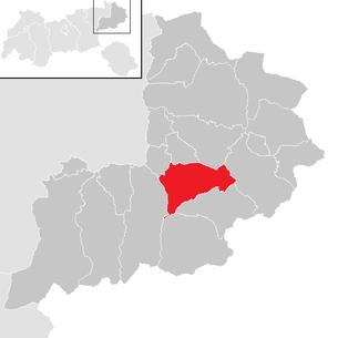 Расположение муниципалитета Китцбюэль в районе Китцбюэля (кликабельная карта)