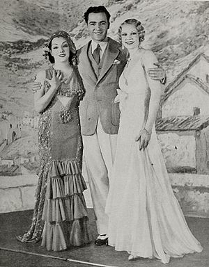 "Charles ""Buddy"" Rogers - Lupe Velez, Buddy Rogers, and June Knight in the Broadway musical Hot-Cha! (1932)"
