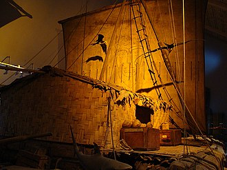 Kon-Tiki expedition - The Kon-Tiki raft exhibited at Oslo Museum