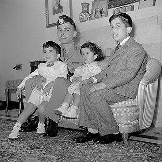 Talal of Jordan - From left to right: prince Hassan, king Hussein, princess Basma and prince Muhammad