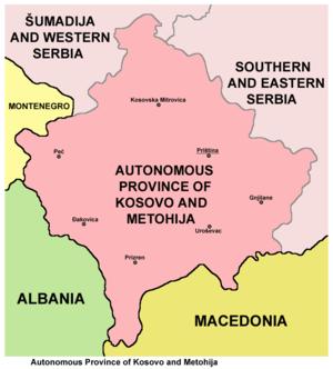 Autonomous Province of Kosovo and Metohija - Map of the Autonomous Province of Kosovo and Metohija