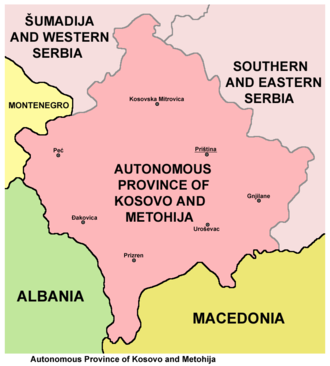 Autonomous Province of Kosovo and Metohija - Map of the Autonomous Province of Kosovo and Metohija