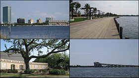 Clockwise from left: Downtown Lake Charles; Lakefront Promenade; I-210 Bridge over the Calcasieu River; McNeese State University entrance plaza.