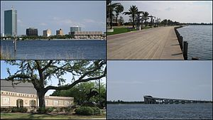 Clockwise from left: Downtown Lake Charles; Lakefront Promenade; I-210 Bridge over the Calcasieu River; McNeese State University entrance plaza