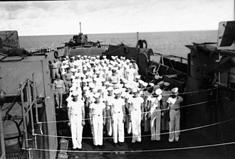 USS LST-504 - LST-504 standing at inspection, between Guam and Saipan, date unknown.