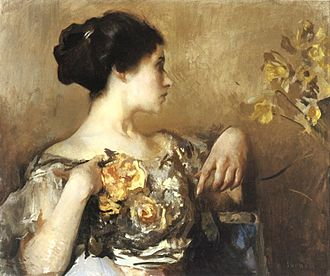 Edmund C. Tarbell - Lady with a Corsage, 1911
