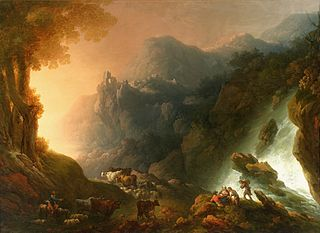 The mountain scenery with a waterfall (The sunset).