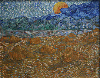 Wheat Fields (Van Gogh series) - Image: Landscape with wheat sheaves and rising moon