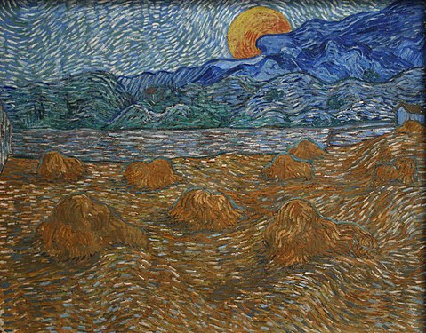 A squarish painting of a darkened wheatfield of stacks, with a river and mountains in the background under a rising full moon.