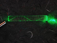 Green laser beam in glass fibre