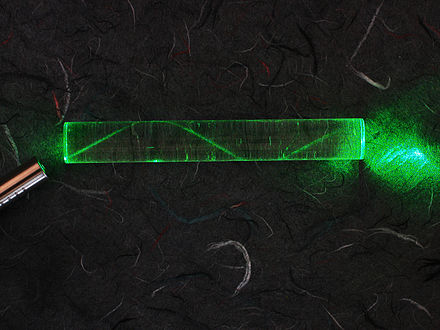 A laser bouncing down an acrylic rod, illustrating the total internal reflection of light in a multi-mode optical fiber. Laser in fibre.jpg