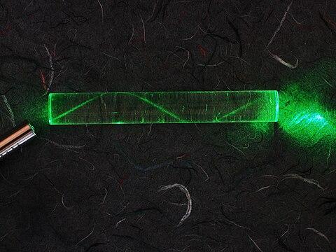 Laserlicht verbleit durch Totalreflexion im Glaskörper