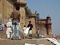 Laundry Scene along Ghat - Varanasi - Uttar Pradesh - India - 01 (12498890625).jpg