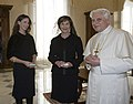 Laura and Barbara Bush meet Pope Benedict XVI (cropped).jpg