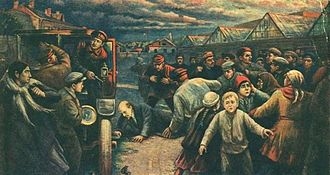 Soviet art - Vladimir Pchelin's artwork about Lenin's assassination attempt, 1927
