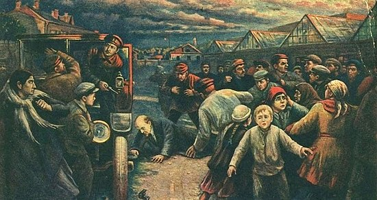 Artist Vladimir Pchelin's depiction of the 30 August 1918 assassination attempt on Vladimir Lenin by Fanya Kaplan.[g]
