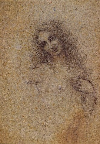 Salaì - Angelo Incarnato, drawing by Leonardo, c. 1515