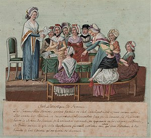Tricoteuse - Contemporary depiction of a Revolutionary Women's Club by Pierre-Étienne Lesueur