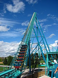 The lift hill (the part where a chain brings the train to the main/first drop) of Leviathan.