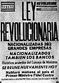 Ley Revolucionaria Poater. Havana, Cuba. 1960.jpg