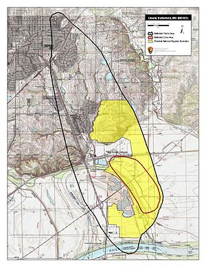 Battle of Liberty - Map of Liberty Battlefield core and study areas by the American Battlefield Protection Program.