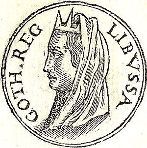 "Libuše - ""Libussa Goth. Reg."" (""Libussa, Queen of the Goths"") from Promptuarii Iconum Insigniorum (1553)"