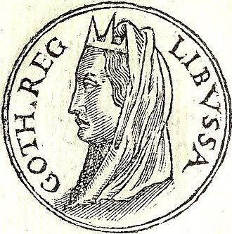 """Libuše - """"Libussa Goth. Reg."""" (""""Libussa, Queen of the Goths"""") from Promptuarii Iconum Insigniorum (1553)"""