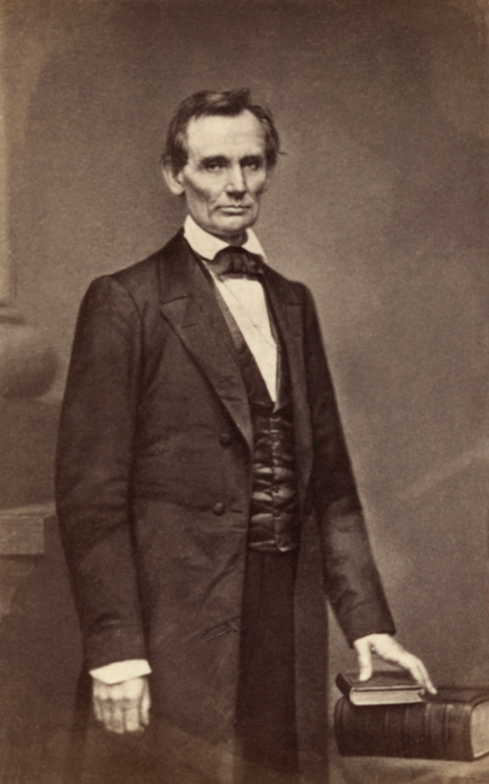 Abraham Lincoln (1860) by Mathew Brady, taken the day of the Cooper Union speech. Lincoln O-17 by Brady, 1860.png