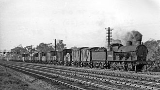 Leighton Buzzard railway station - Up freight approaching Linslade Tunnel in 1948