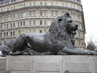 Trafalgar Square -  alt=The lions at Nelson's Column