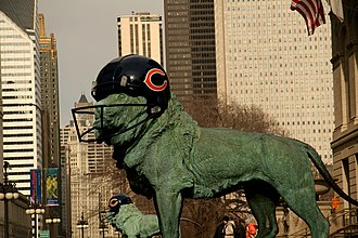 Super Bowl XLI - The Art Institute of Chicago's lions were decorated to show support for the Chicago Bears.