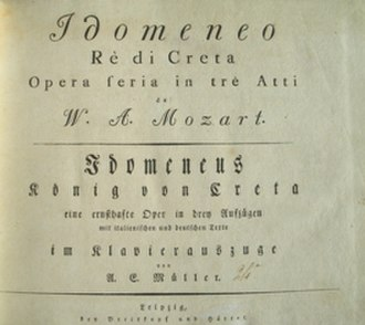 Idomeneo - Front page of a bilingual vocalscore