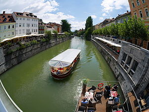 Ljubljana old town with excursion boat