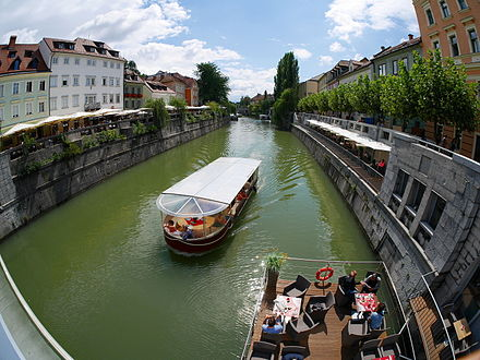 River in the centre of Ljubljana