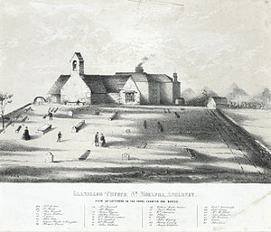Royal Charter (ship) - St Gallgo's Church, showing graves. Black and white print on lithograph c. 1860.