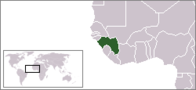 A map showing the location of Guinea