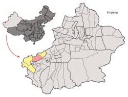 Location of Artux within Xinjiang (China).png