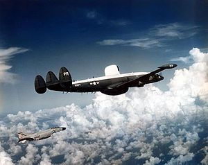 Airborne early warning and control - Lockheed EC-121M showing characteristic radar domes above and below fuselage