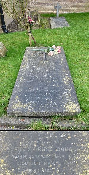 Lord Alfred Douglas - The grave of Alfred Douglas (and mother) at the Friary Church of St Francis and St Anthony, Crawley, Sussex, pictured in 2013