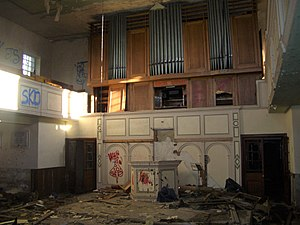 Loxley United Reformed Church - The vandalised interior in early 2016, before the fire, showing the original organ