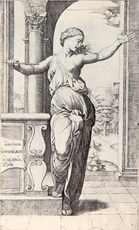 Lucretia, engraved by Raimondi after a design by Raphael.