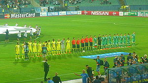 PFC Ludogorets Razgrad - Ludogorets playing Steaua București in a second leg play-off for the 2014–15 Champions League, hosted at the Vasil Levski National Stadium, Sofia.