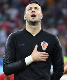 1c85f8a69c9 Subašić with Croatia before the game against Russia at the 2018 FIFA World  Cup.