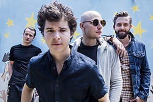 Lukas Graham - Lukas Graham in April 2016. From left to right: Magnus Larsson, Lukas Forchhammer, Mark Falgren, Kasper Daugaard