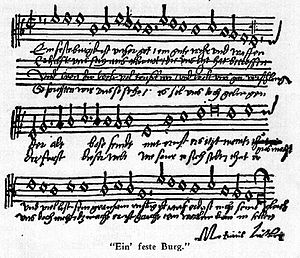 "A Mighty Fortress Is Our God - ""Ein feste Burg"" with Luther's signature"