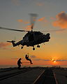 Lynx Helicopter Practicing Winching Drills Over HMS Argyll's Flight Deck MOD 45153844.jpg