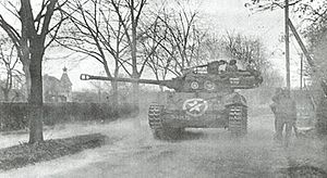 M18 Hellcat - M18 Hellcat of the 824th Tank Destroyer Battalion in action at Wiesloch, Germany, April 1945.