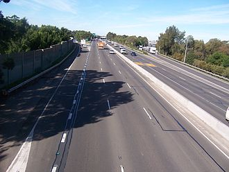 M4 Western Motorway - M4, view east from footbridge at Silverwater