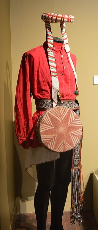 Rarámuri people - Traditional Tarahumara male dress displayed at the Museo de Arte Popular in Mexico City.